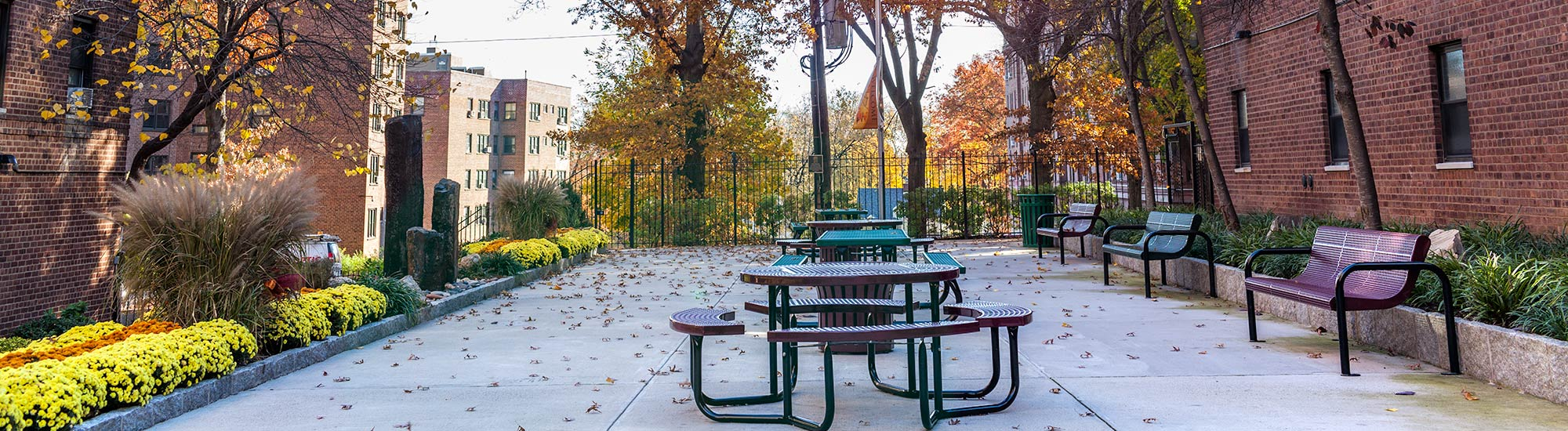 The courtyards and picnic area at Vernon Manor Section II